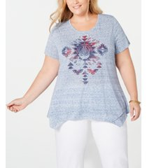 style & co plus size graphic handkerchief-hem t-shirt, created for macy's