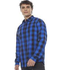 camisa cuadros manga larga azul corona