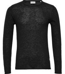 casual knit stickad tröja m. rund krage svart lindbergh