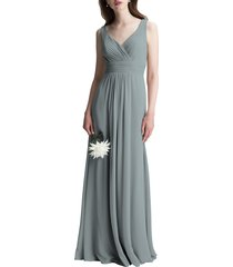 women's #levkoff v-neck chiffon a-line gown, size 12 - grey
