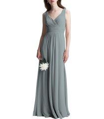 women's #levkoff v-neck chiffon a-line gown, size 10 - grey