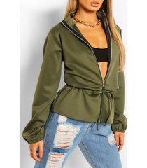peplum detail bomber jacket, khaki