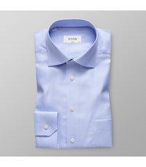 eton heren overhemd licht herringbone twill classic fit cutaway blauw