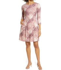 connected apparel plaid long sleeve fit & flare dress, size 16 in dusty rose at nordstrom