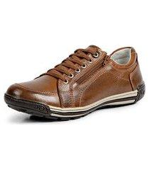 sapatênis tênis moderno linha conforto doctor flex - 3007 marrom claro
