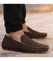 zapato mocasín  - cafe