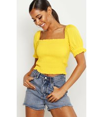 shirred peasant puff sleeve crop top, yellow