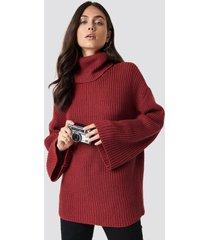 dilara x na-kd cozy polo knit sweater - red