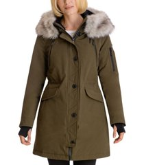 bcbgeneration faux-fur-trim hooded water-resistant anorak parka
