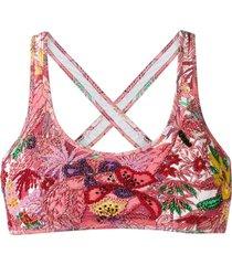 amir slama embroidered bikini top - pink