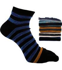 uomini elegante striped cotone breathable toe calze casual stripe cinque calze finger per maschio
