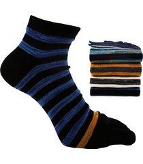 uomo elegante cotone traspirante a righe punta calze casual stripe five finger calze per uomo