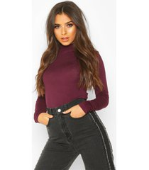basic high neck long sleeve top, berry