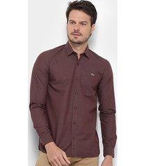 camisa lacoste manga longa slim masculina
