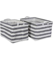 design imports polyethylene coated cotton polyester laundry bin stripe rectangle large set of 2