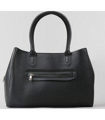 bolsa de ombro feminina média com bolso preta