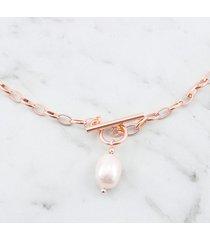 łańcuszek grube ogniwa z perłą różowe złoto