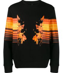 neil barrett flame print sweatshirt - black