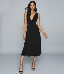 reiss adele - plunge neckline midi dress in black, womens, size 14