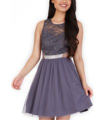 bcx juniors' embellished lace-top fit & flare dress