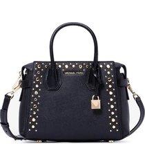 michael michael kors mercer belted black handbag