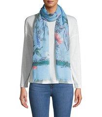 floral-print fringe scarf