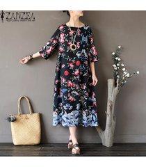 3/4 zanzea verano de las mujeres camisa larga vestido retro señoras impreso floral de la túnica floja ocasional kaftan vestido más el tamaño l-5xl (negro) -negro