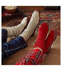 unisex wool blend slipper socks, 'toasty travels' (china)