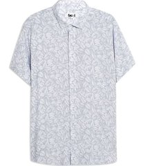 camisa hombre hojas color azul, talla l