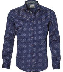 sale - hensen overhemd - slim fit - blauw