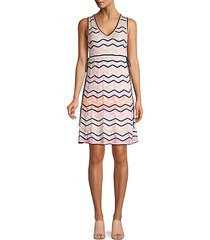 multicolor scalloped chevron knit a-line dress