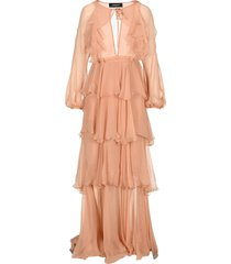 d squared long flounce dress