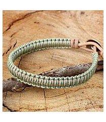 leather and silver wristband bracelet, 'hemlock suns' (thailand)