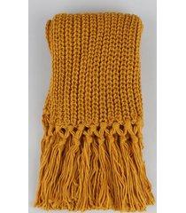 cachecol de tricô unissex com franjas mostarda