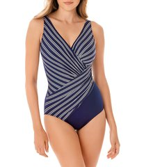 miraclesuit women's belmont striped one-piece swimsuit - midnight - size 18