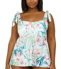becca etc trendy plus size lush lagoon tie-strap tankini top women's swimsuit