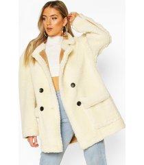 luxe lined teddy faux fur oversized coat, cream