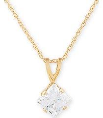 """swarovski cubic zirconia 18"""" pendant necklace in 14k gold"""