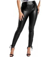 pantalon envy lace up pu negro guess