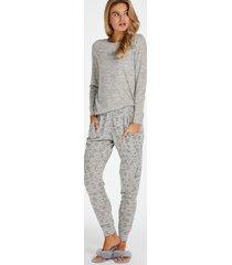 hunkemöller presentset långt pyjamasset jersey grå