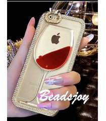 iphone 4/4s 5/5s 6/6s plus crystal wine glass bottle bling sand phone case cc058