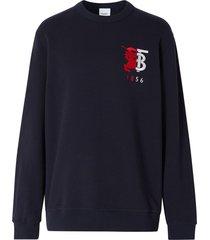 burberry contrast logo graphic sweatshirt - blue