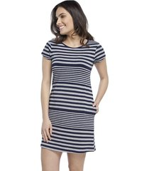 camisã£o feminino curto stripe navy com bolso - azul marinho/cinza - feminino - viscose - dafiti