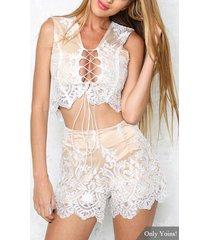conjunto sexy sin mangas con tirantes de encaje de crochet blanco