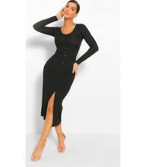 geribbelde midi jurk met knopen, zwart