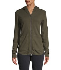 hooded high-low cotton jacket