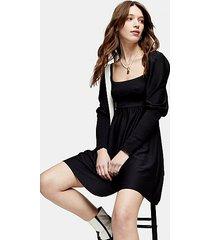 black shirred long sleeve mini dress - black