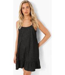 denim swing jurk met losvallende zoom en bandjes, black