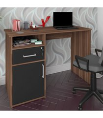 mesa escrivaninha hall 1 porta 1 gaveta ipê/preto - artany