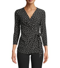 anne klein scatter print faux wrap top, size small in anne black/anne white at nordstrom